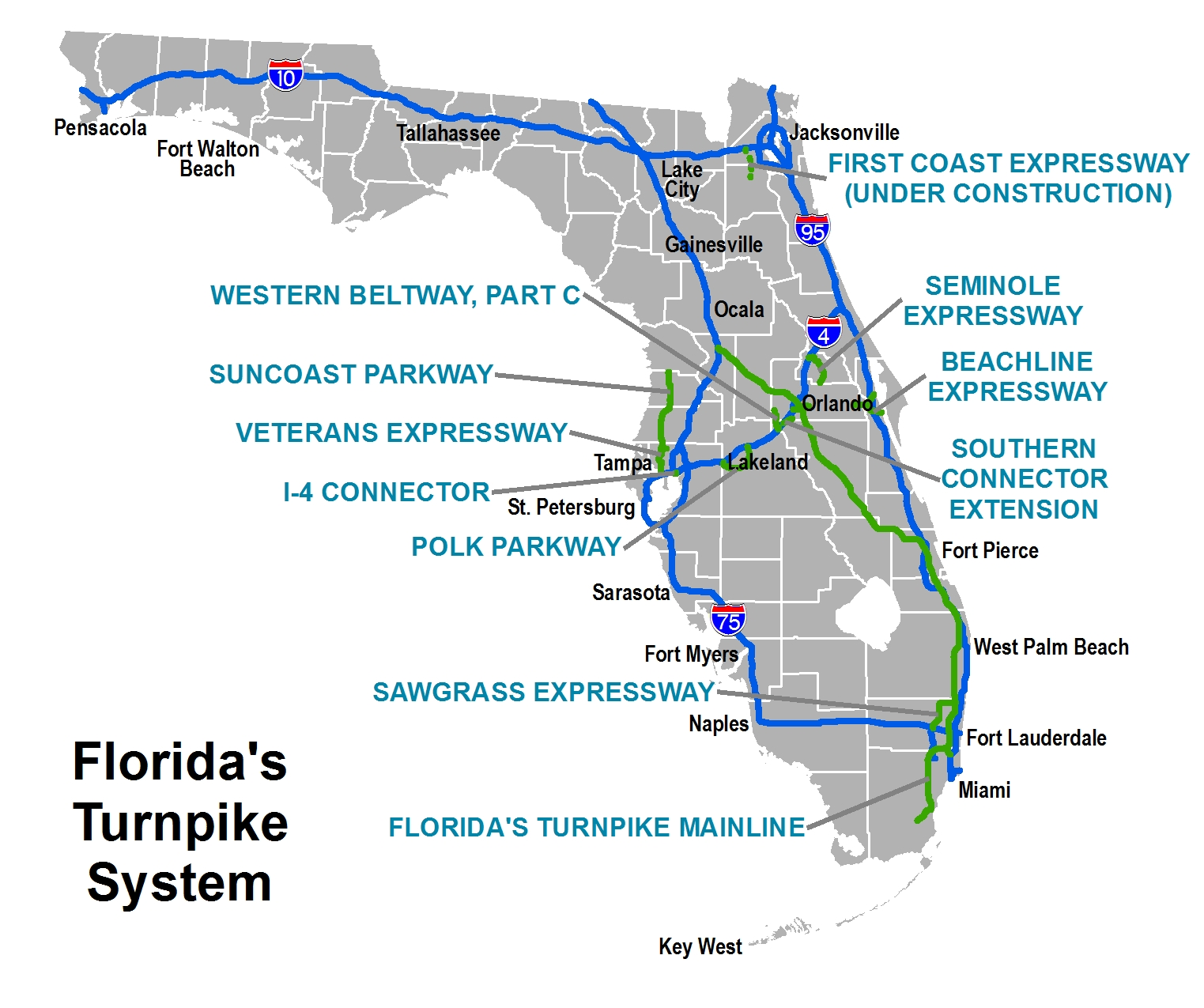 Route  Map Of Chicago Toll Booths Pictures To Pin On Pinterest - Florida map ft pierce
